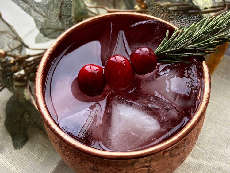 Delight your guests with a Cranberry Moscow Mule.