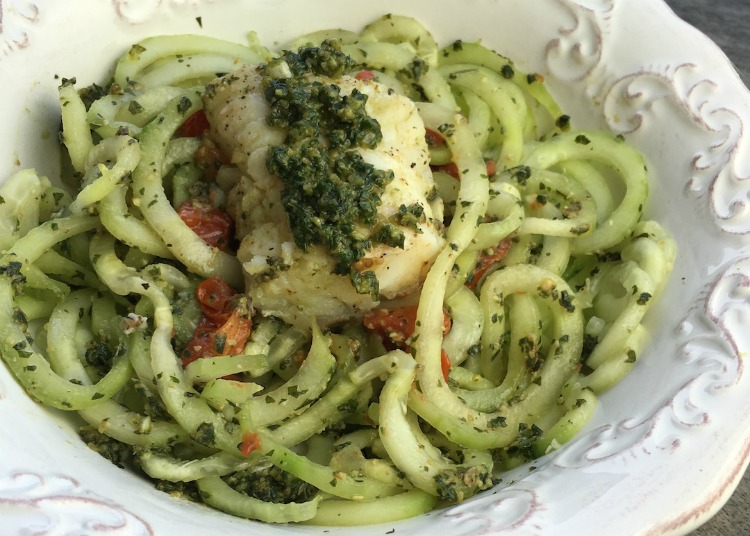 Cucumber Noodles with Fresh Pesto