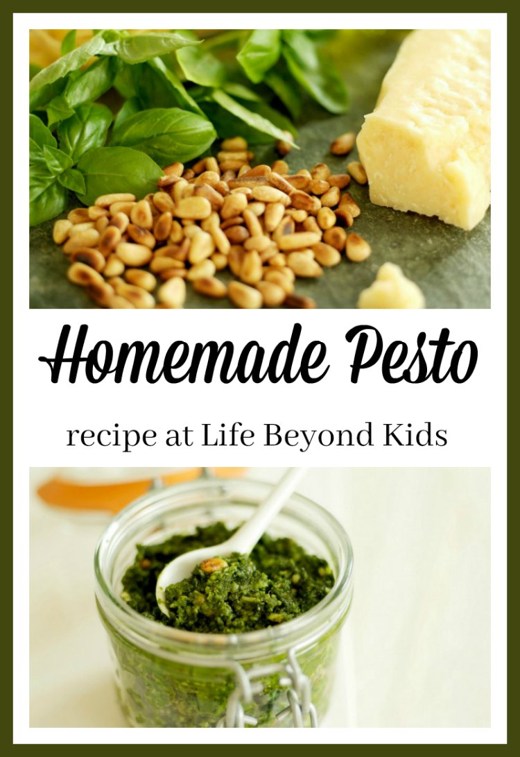 Homemade Pesto is easy to pull together when you need it. Enjoy on pasta or other dishes.