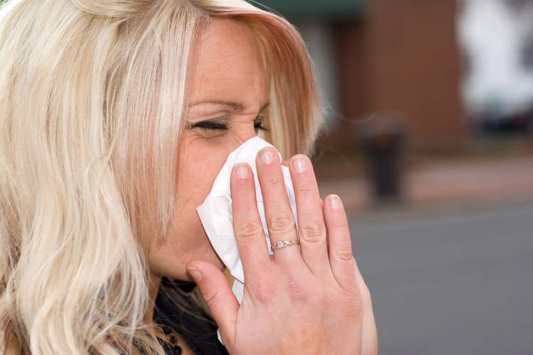 Blowing Your Nose is a common reaction to the allergic response with hayfever.