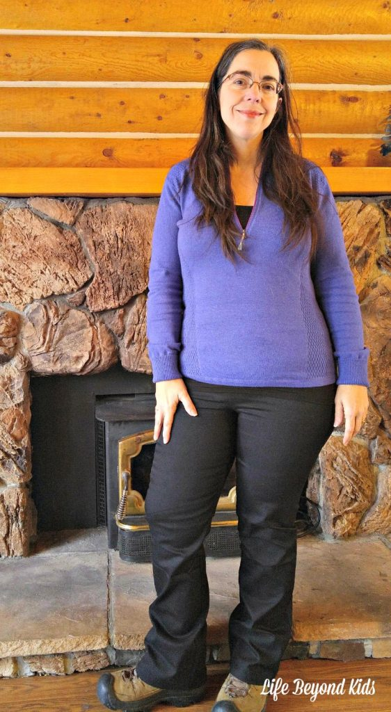 Pairing the shapewear leggings with a zip sweater for a cool fall day.
