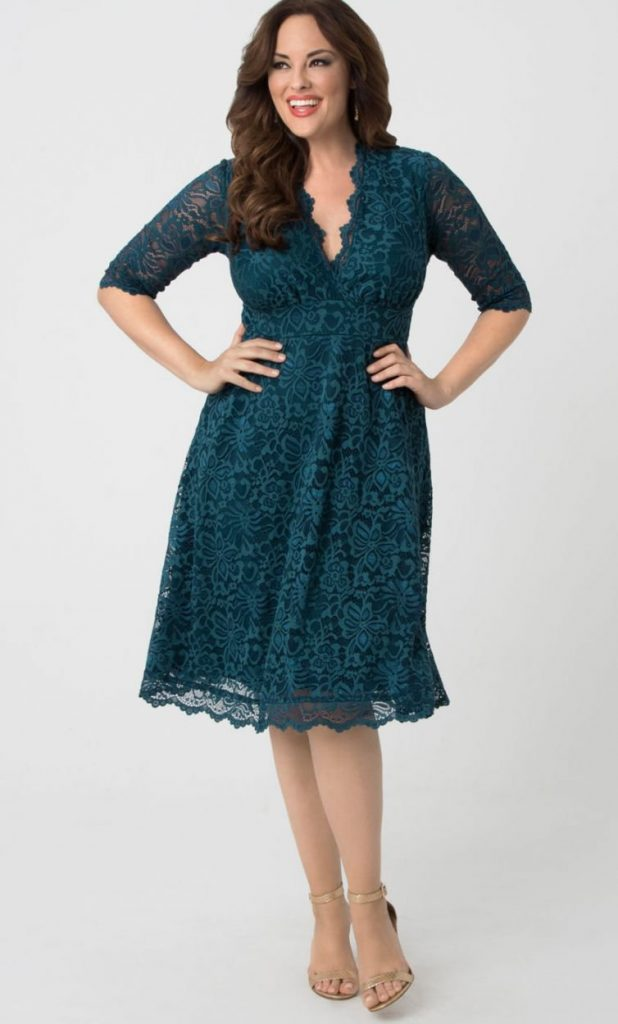 Mademoiselle Lace Dress, Sapphire Blue from Kiyonna